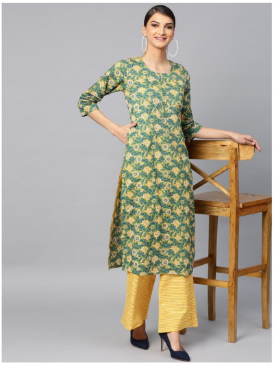 greendesigner kurta with yellow plazzo