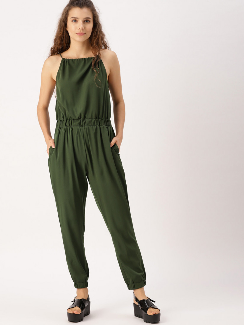 Olive Green Solid Basic Jumpsuit