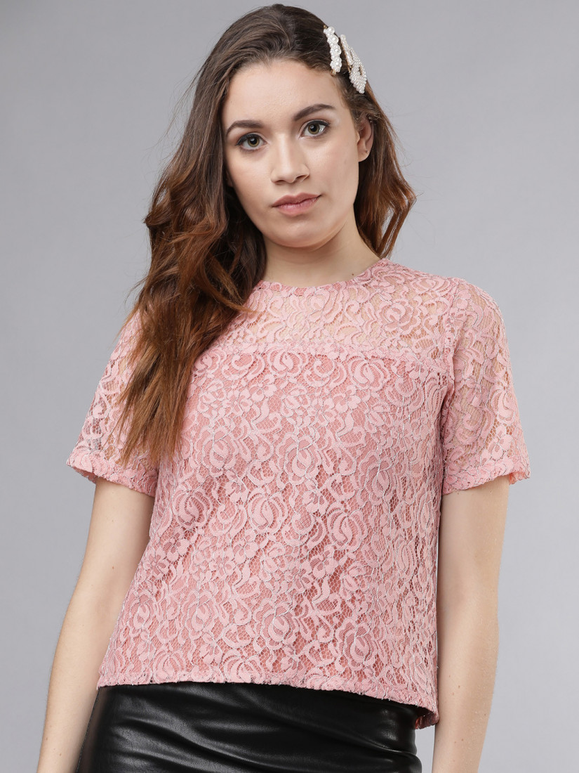 Women Peach-Coloured Self Design Top