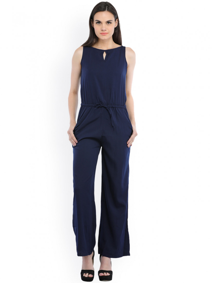 Blue Solid Basic Jumpsuit