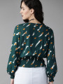 Women Green & White Printed Blouson Top