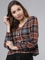 Women Burgundy & Turquoise Blue Checked Shirt Style Top