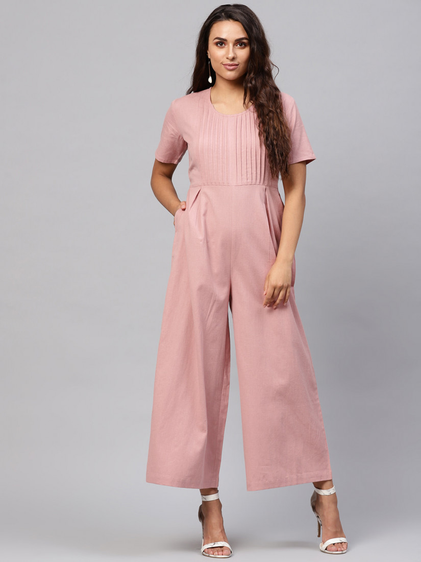 Dusty Pink Solid Basic Jumpsuit