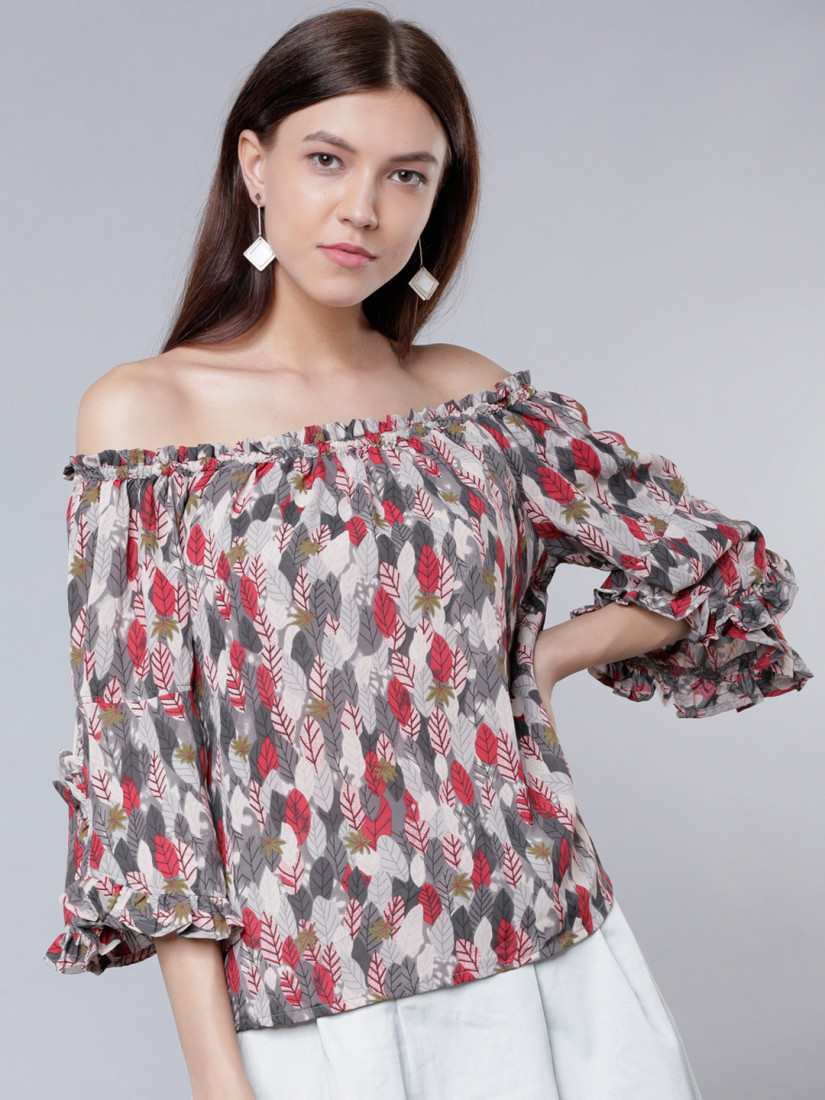 Women Grey Printed Bardot Top