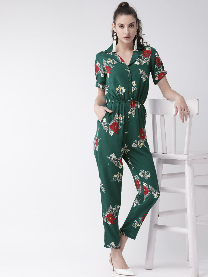 Women Green & Off-White Printed Basic Jumpsuit