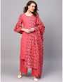 RED designer kurta with plazzo AND dupatta
