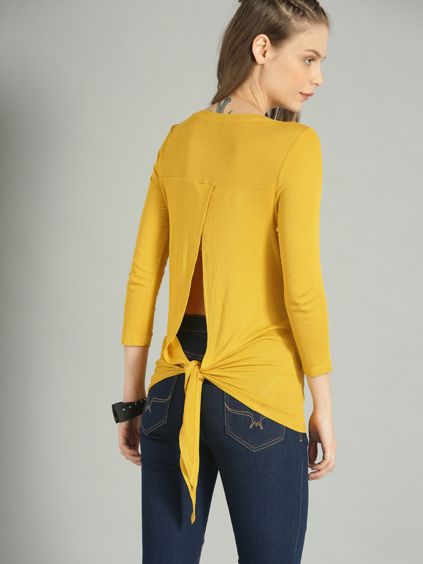 Women Yellow Solid Styled Back Top