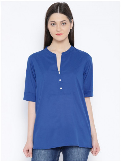 Radha's short Royal Blue cotton office wear Shirt