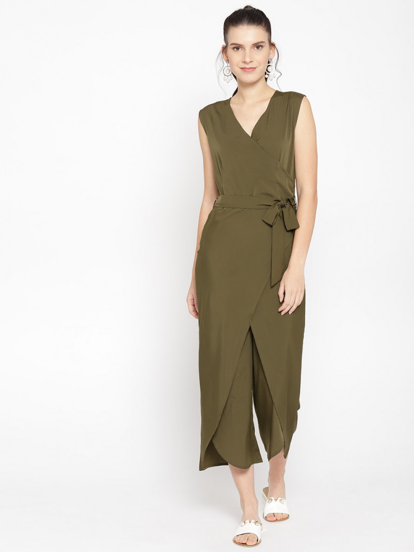 Women Olive Green Solid Layered Basic Jumpsuit