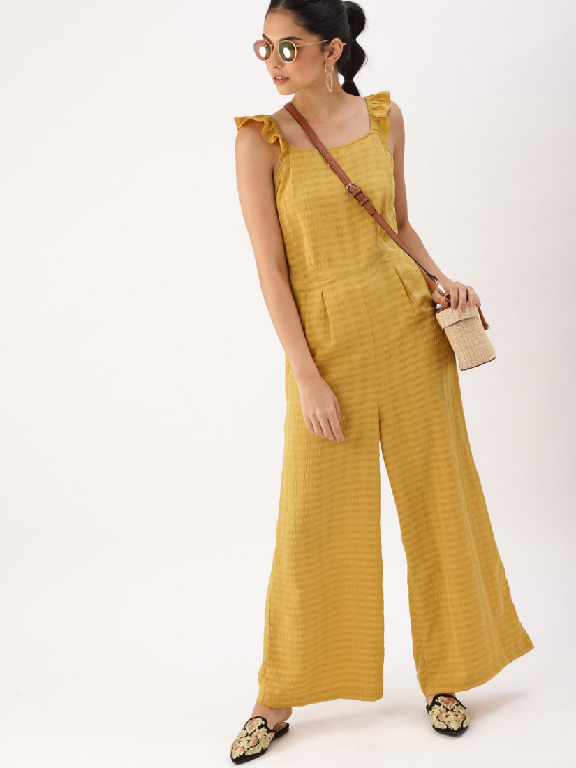 Mustard Solid Basic Jumpsuit
