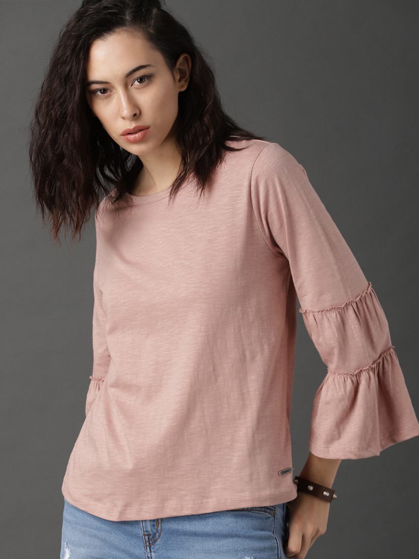 Women Dusty Pink Coloured Solid Top with Flared Sleeve
