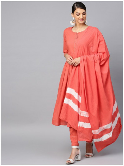 orange designer kurta with pants and dupatta