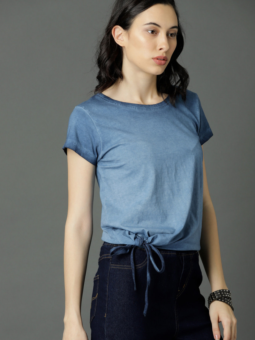 Women Blue Dyed Top