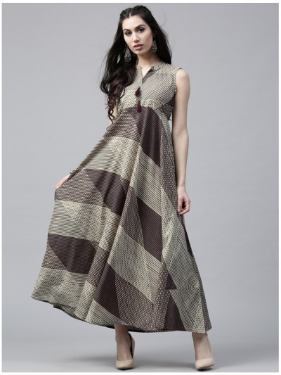 beige Designer Long Dresses