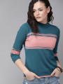 Women Teal Blue & Pink Colourblocked Top