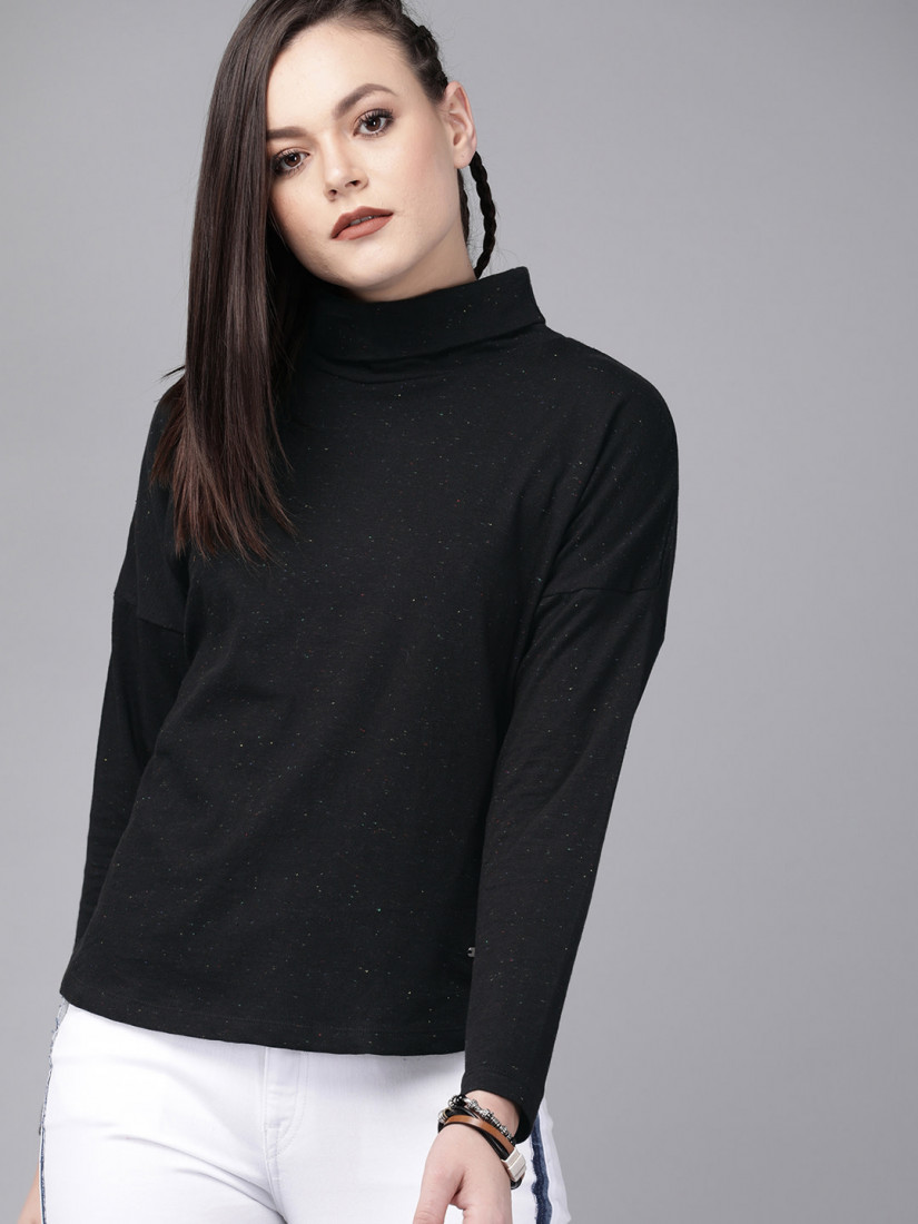 Women Black Solid Top