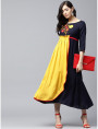blue and yellow Designer Long Dresses