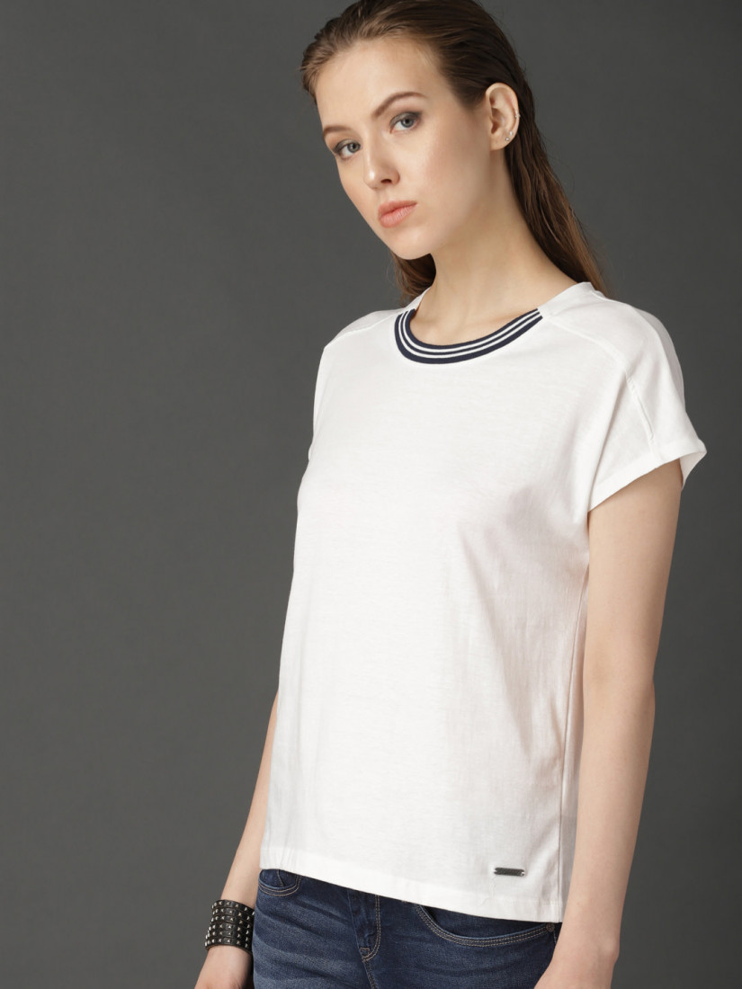 Women White Solid Top With Contrast Rib