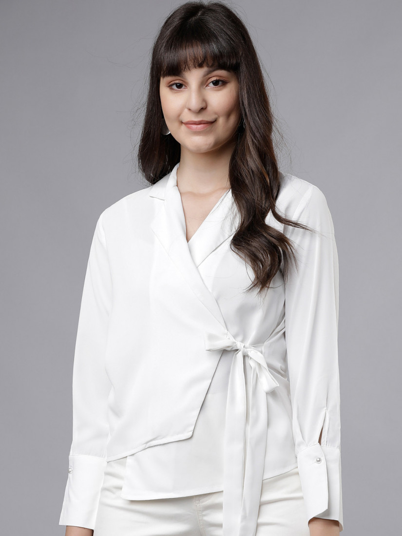 Women White Solid Wrap Top