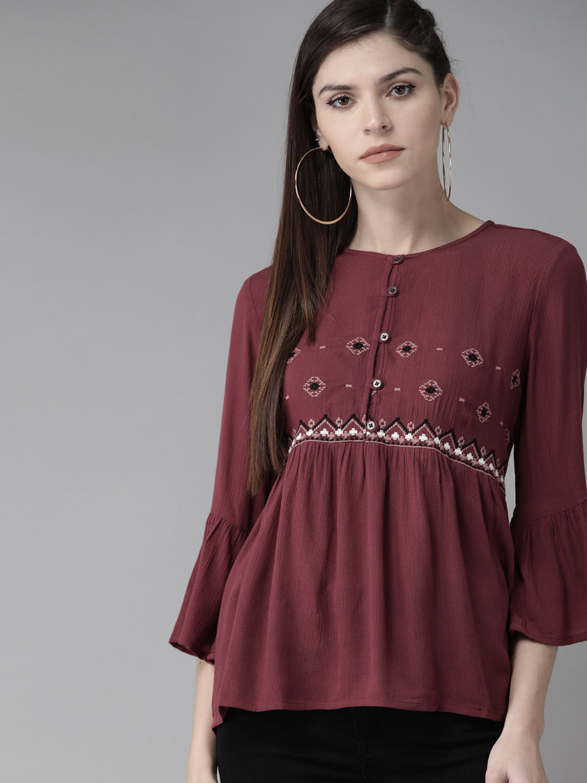 Women Maroon & Beige Embroidered A-Line Top