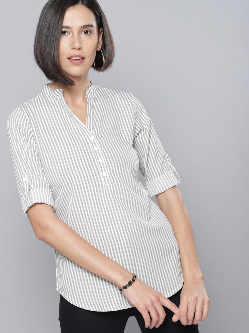 Women Grey & White Striped Top