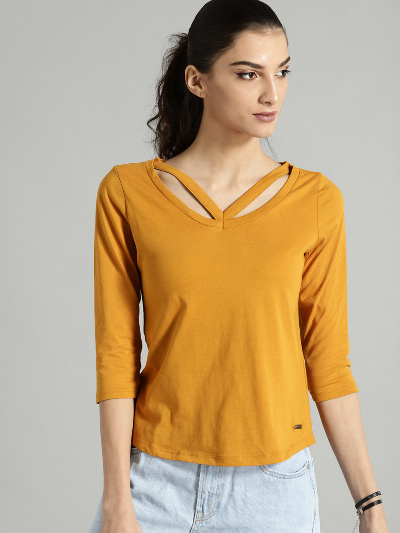 Women Mustard Yellow Solid Styled Back Top
