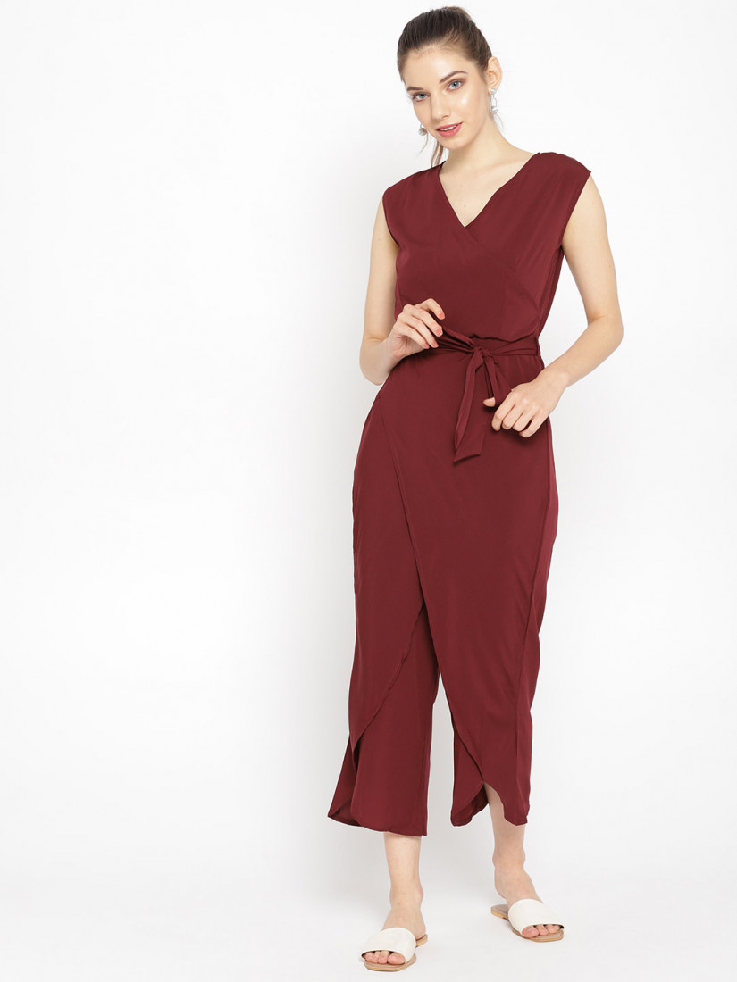 Women Burgundy Solid Layered Culotte Jumpsuit
