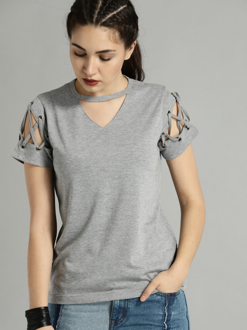 Time Travlr Women Grey Melange Solid Top