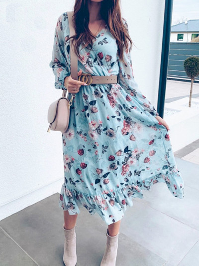 BeAvant Blue Long Sleeve Women Boho Dress