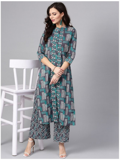 green designer kurta with plazzo