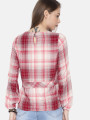 Women Pink Checked Cinched Waist Top