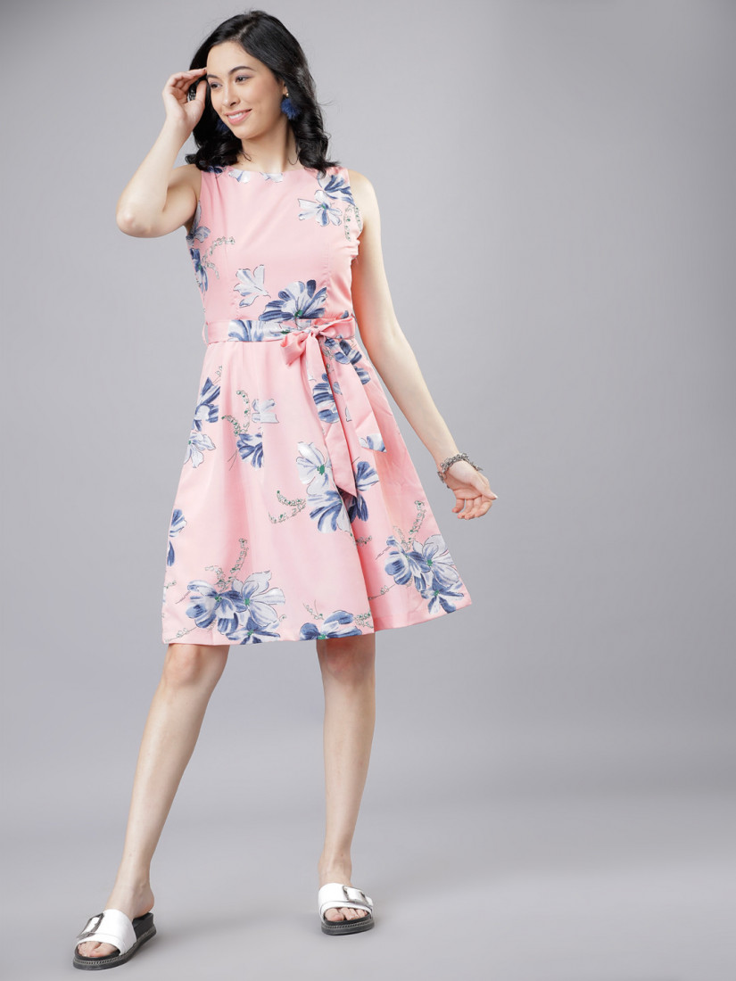 Women Pink & Blue Floral Print Fit and Flare Dress