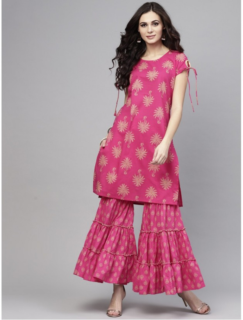 pink designer kurta with plazzo