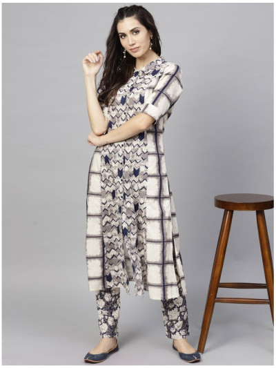 white designer kurta with plazzo
