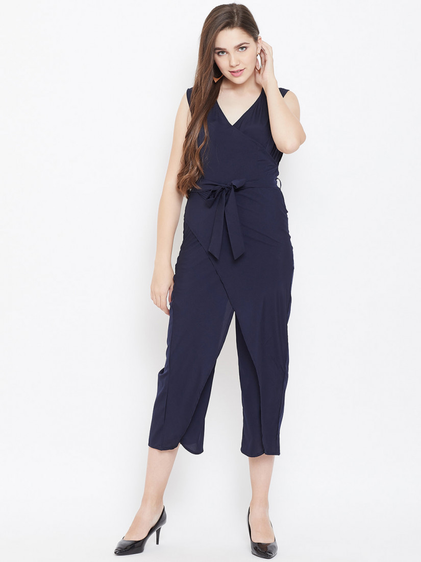 Women Navy Blue Solid Culotte Jumpsuit