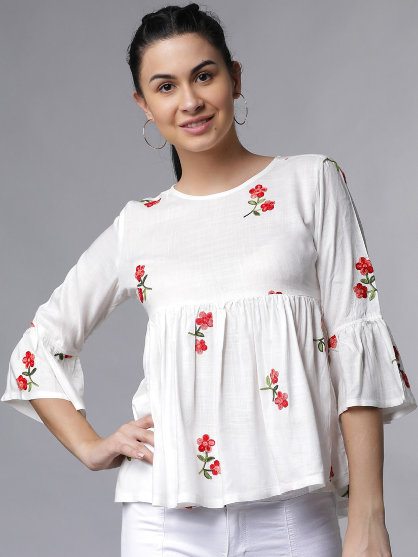 Women Off-White Floral Embroidered Top