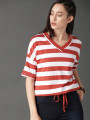 Women Rust Red & White Striped Boxy Top