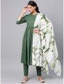 green designer kurta with pants and dupatta