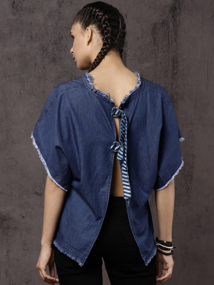 Women Blue Solid Styled Back Top