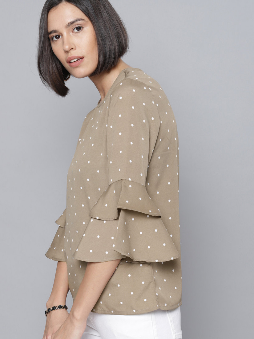 Women Taupe Printed Top