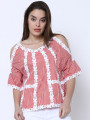Women Red Striped Top