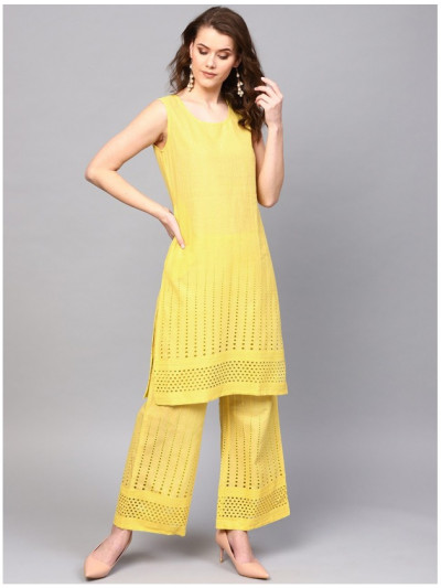 yellowdesigner kurta with plazzo
