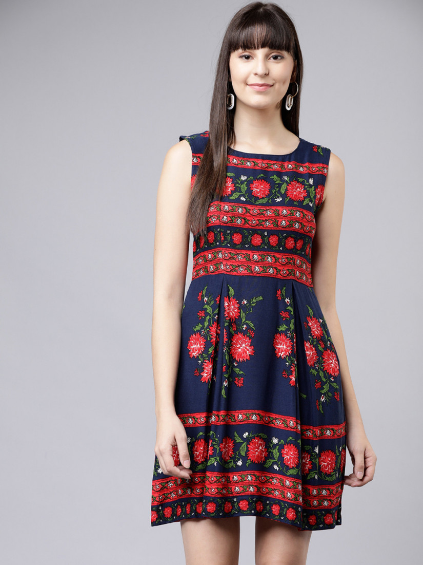 Navy Blue Sleeveless Flower Mini dress