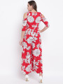 Women Red & Off-White Printed Cold-Shoulder Basic Jumpsuit
