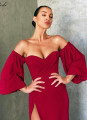 New sexy solid color slash neck Ankle-Length dress
