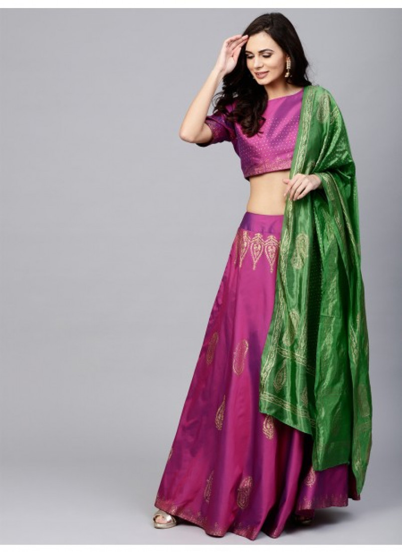 Purple Gold Block Printed Lehenga & Choli With Green Dupatta