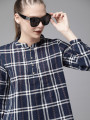 Women Navy Blue & White Checked Shirt Style Top