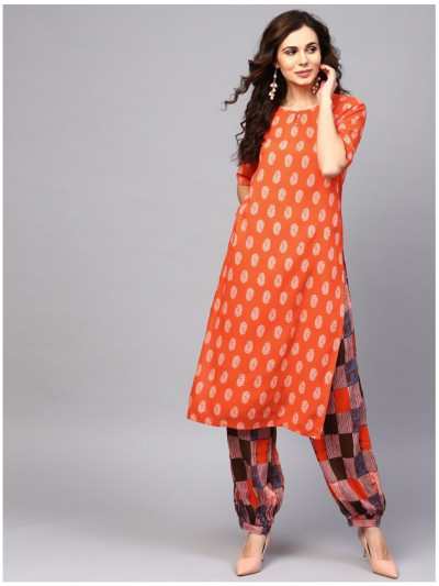 orange designer kurta with salwar