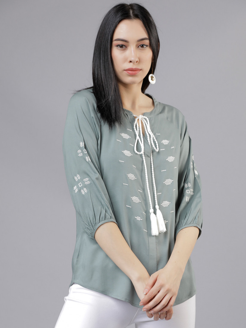 Women Olive Green Printed A-Line Top