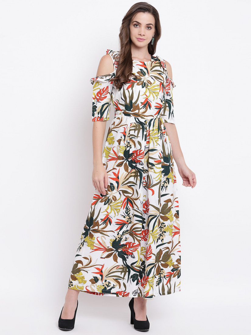 Women White & Green Printed Cold-Shoulder Basic Jumpsuit